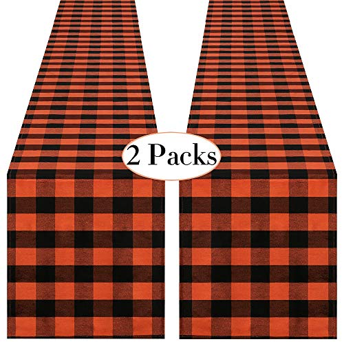 QueenDream 2 Pack Halloween Table Runner Party Supplies Fabric Decorations 13x84inch Buffalo Plaid Table Runner for Halloween Wedding Birthday Baby Shower Orange and Black