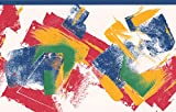 Rouge Jaune Bleu vert blanc abstrait Frise pour papier peint Motif rayé, rouleau de...