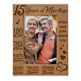KATE POSH - Our 15th Anniversary Engraved Natural Wood Picture Frame - 15 Years of Marriage, Fifteen Years Together, Wedding Anniversary Gift for Husband & Wife (4x6 Vertical)
