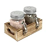 Mason Jar Salt and Pepper Shakers Set with Wood Caddy, Easy to Clean & Refill for Farmhouse Kitchen Table, Rustic Home Decor and Gifts