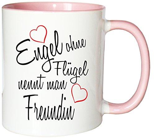 Mister Merchandise Kaffeebecher Tasse Engel ohne Flügel nennt Man Freundin Beste Freundin BFF Girlfriends Freund Mädels Teetasse Becher Weiß-Rosa