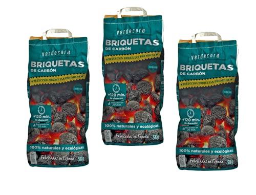 Pack de 3 Briquetas de carbón premium Verdecora 5 kg (Portes Incluidos)