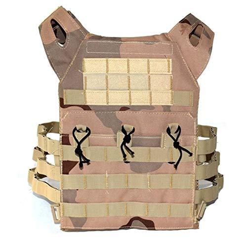 QWERBAM Caza Táctica Armadura del Cuerpo JPC Molle Plate Carrier Chaleco Exterior CS Juego Paintball Airsoft Chaleco Equipo Militar Fashion Adjustable (Color : Sand Camo)