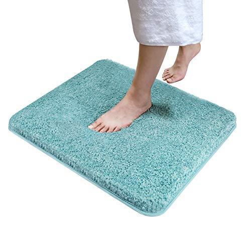 Soft Plush Bathroom Rugs Bath Mat 20' x 24',Non-Slip Microfiber Fluffy Shaggy Water Absorbent Bath Rug Carpet,Machine Washable Rectangular Runner Area Rug Mats for Floor/Kitchen,Blue