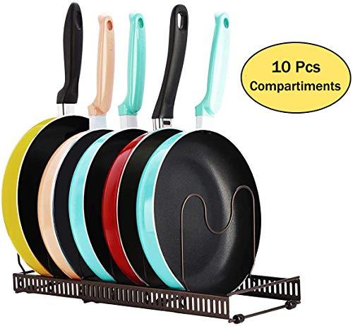 Toplife Expandible Pan Organizer Rack, 10 compartimentos ajustables, gabinete de despensa para hornear, soporte para placa de tapa