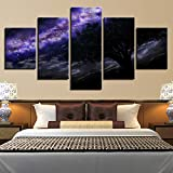 PEJHQY Spaceman Earth Jupiter Venus Sun Moon Universe 5 Piezas de Pared para Sala de Estar Color Painting Art Home Decor Abstract,Cuadro en Lienzo New York