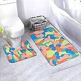 N/B Camouflage Seamless Pattern In A Blue Green Pink Bad rutschfeste Bodenmatte cuarto de baño Antirutschpolster alfombras alfombras para Innendekorationen Set 2 unidades Personalisiert