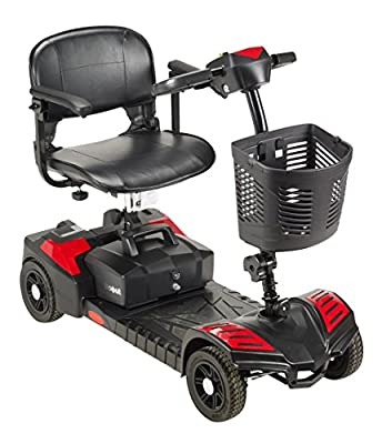 Drive Medical Spitfire Scout 4 Compact Travel Scooter, 4-wheel, Red/Blue