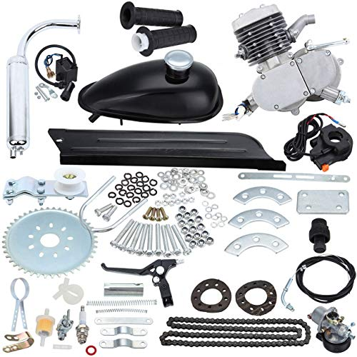 """Iglobalbuy 26"""" 28"""" 2 Stroke 50cc Cycle Bicycle Gas Motorized Gasoline Engine Motor Kit CDI Air Cooling For Mountain and Road Bike"""
