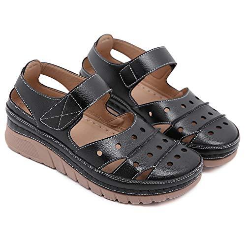 Damen Geschlossene Sandalen Sommer Keilabsatz Pantoletten Flach Geschlossene Slingback Wedges Sandaletten Halbschuhe Frauen Schuhe,Schwarz,36