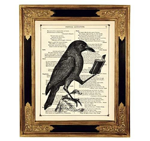 Lesender Rabe Buch Gothic Kunstdruck auf antiker Buchseite Geschenk Leseratte Geburtstag Halloween Poster Bild Steampunk ungerahmt