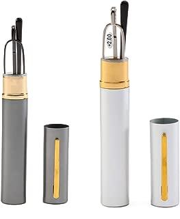 SOOLALA Super Slim Compact Reader Reading Glasses Reader w/Pen Clip Tube Case