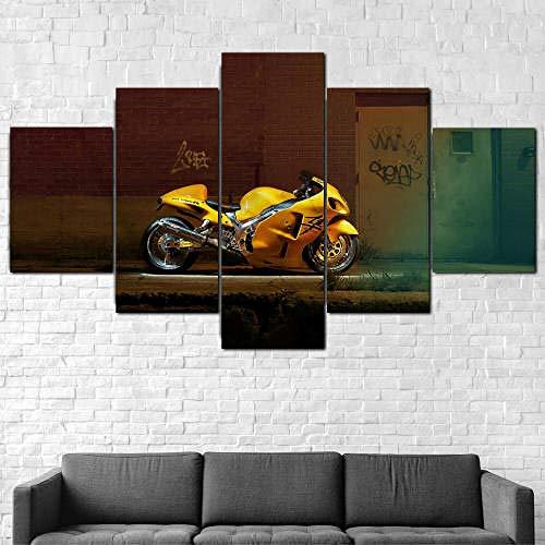 5 Piezas Lienzo Arte Pared,5 Piezas Lienzo Bicicleta Motocicleta Hayabus Amarilla,5 Piezas Cuadro Lienzo,Cuadros Decoracion Salon 5 Piezas Cuadro Moderno Xxl,5 Piezas Cuadro Sobre Lienzo 150X80Cm