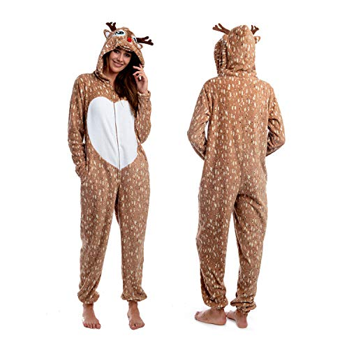 Body Candy Womens Soft and Cuddly Printed Hoodie Plush Onesie Critters, REINDEER, Brown - Large