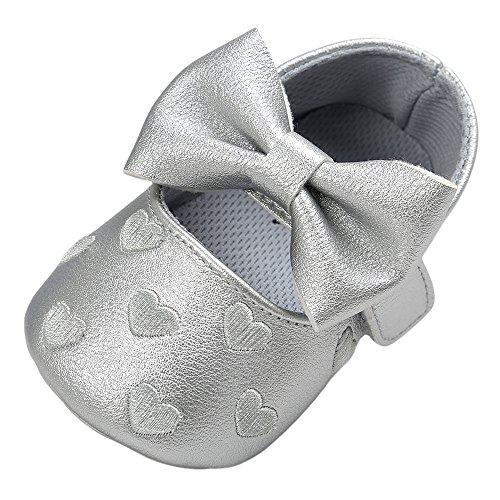 SUCES Mädchen Bogen Leder Weiche Schön Schuhe Prinzessin Baby Süß Babyschuhe Kleinkind Atmungsaktiv Einzelne Schuhe ( Grau2,13)