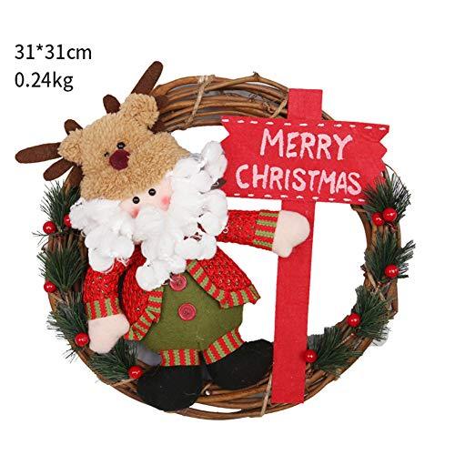 FENGT Weihnachtsdekoration Rattan Kranz Kranz Anhänger Santa Schneemann Kranz Elch Geschenk Ornamente Fenster Hängen Tür Hängen Szenenplan,2