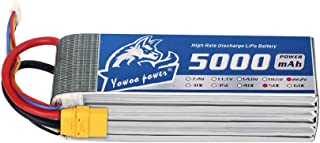 YOWOO Lipo Battery 6S 5000mAh 22.2V 50C RC Batteries with XT90 Connector for Mikado LOGO500, Align T-REX550/600, GAUI X5, Outrage 550, Hirobo SDX, Large multirotors, EDF Jets (22.2v 5000mah)