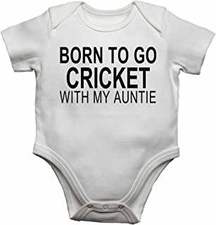 Born to Go Cricket with My Auntie - Personalised Baby Vests Bodysuits Baby Grows for Boys, Girls - White - 18-24 Months
