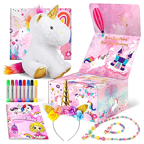 Unicorn Gifts Toys for Girls Aged 3, 4, 5, 6, 7, 8 Years Old Kids - Surprise Box Inclu Unicorn Plush, Coloring Book with Markers, Unicorn Necklace, Unicorn Headband - Ideal Birthday