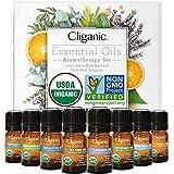 Cliganic USDA Organic Aromatherapy Essential Oils Set (Top 8), 100% Pure Natural - Peppermint, Lavender, Eucalyptus, Tea Tree, Lemongrass, Rosemary, Frankincense & Orange | Cliganic 90 Days Warranty