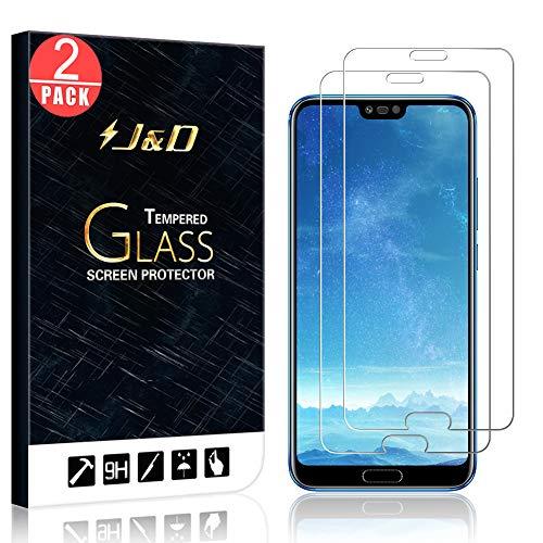 J&D Compatibile per 2 Confezioni Huawei Honor 10 Pellicola Protettiva, [Vetro Temperato] [Non Piena Copertura] HD Chiaro Balistico Vetro Protezione Schermo per Huawei Honor 10 –[Non per Honor 10 Lite]