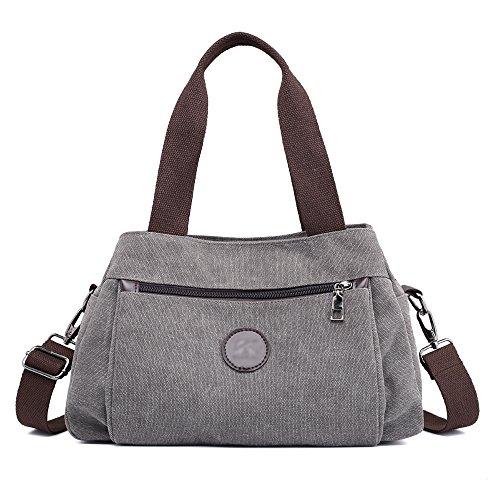Hiigoo Women's Casual Totes Bag Shoulder Bag Canvas Handbags 3-open Crossbody Bag Messenger Bag (Grey)
