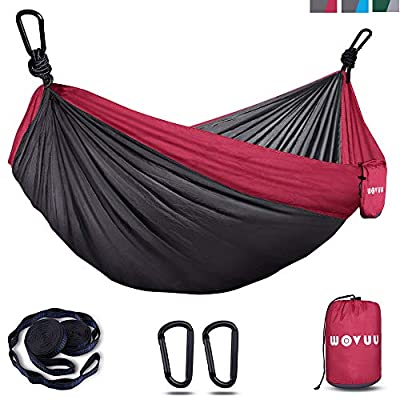 WOVUU Hammock,Camping Hammock Double & Single for Tree, Travel Portable Lightweight Hammock with Tree Straps,Carabiners,Parachute Nylon Hammocks for Camping,Traveling Backpacking,Hiking (Grey&Red)