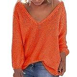 Dorical Damen Herbst Winter Fashion Solid Color Lose Long Sleeves V-Ausschnitt Pullover V-Ausschnitt...