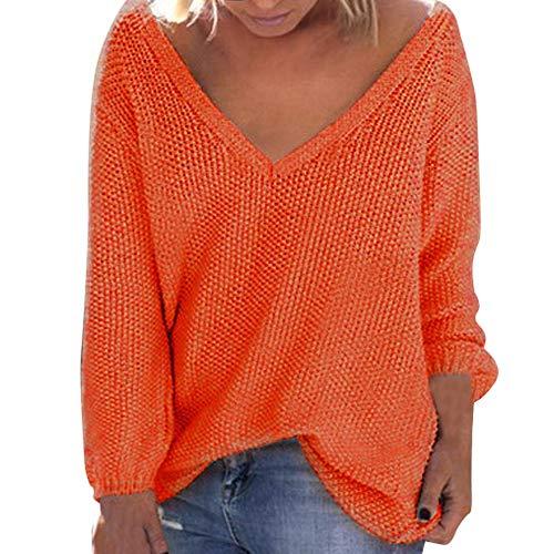 OSYARD Damen Sweater Oberseiten Sweatshirt Pullover, Frauen Pulli Tunika Hemd Lange Hülsen V-Ausschnitt Strickpullover Oberteile Große Größe Lose Bluse Tops T-Shirt Mode Cardigan(XX-Large, Orange)