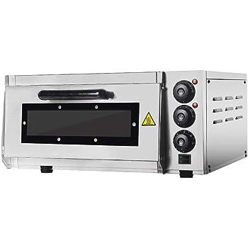 Four à pizza en pierre Itop Professional pizza oven - 400 x 400 mm - 2000 W - Gastro four for Pizza, Bread and Pastry - La température du four peut être réglée jusqu'à 350 °C - Interior Lighting