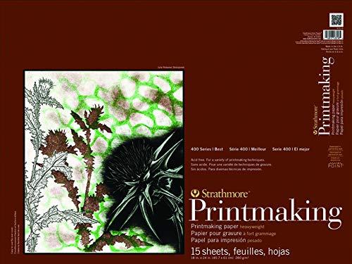 Strathmore Paper 400 Series Printmaking Pad, Heavyweight, 18'x24', White, 15 Sheets