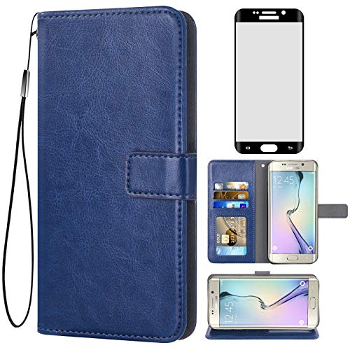 Asuwish Compatible with Samsung Galaxy S6 Edge Plus Wallet Case Tempered Glass Screen Protector and Flip Cover Card Holder Stand Accessories Phone Cases for Glaxay S6edge + S 6edge 6s 6 Edge+ Blue