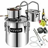 VEVOR Moonshine Still 5 Gal 21L Alcohol Distiller Copper Tube With Circulating Pump Home Brewing Kit Build-in Thermometer for DIY Whisky Wine Brandy, Stainless Steel, 3 pots