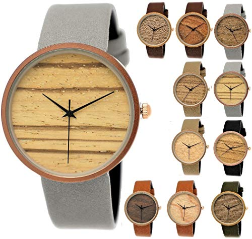 Elegante Pure Time® Designer Damen-Uhr Öko Natur Holz-Uhr Armband Uhr Analog Klassisch Quarz-Uhr Armbanduhr Schwarz Braun Beige Grau Khaki Leder-Armband Holz Ziffernblatt Rose-Gold (grau)