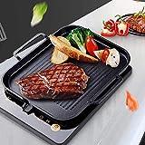 Koreanische Grillpfanne antihaftbeschichtet Grillpfanne 30,5 cm Herdplatte Gusseisen Grillpfannen mit Doppelschlaufen-Griffen und Fettablaufsystem