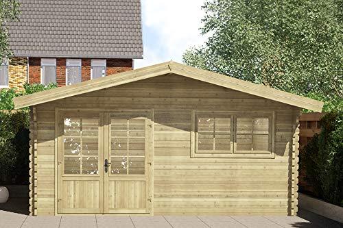 Fonteyn Gartenhaus/Blockhütte Silvia Satteldach 480 x 400 cm + 40 cm Vordach Hochdruck imprägniert