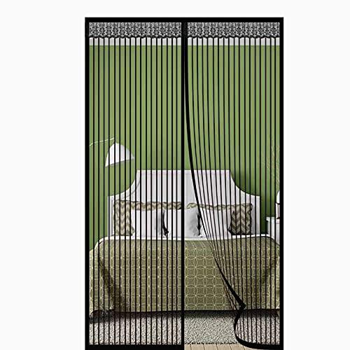 Magnet Fliegengitter Tür Insektenschutz,Magnet Insektenschutz Tür Automatisch Verschließen Anti-Riss-verstärktes Oberteil Ohne Bohren,für Balkontür-schwarz 2||175x220cm(68x86inch)