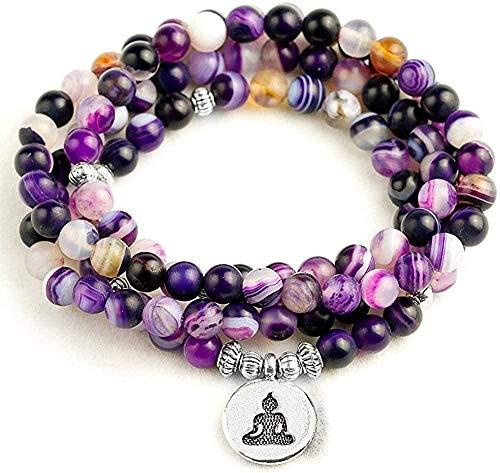 quanjiafu Collar Natural Matte Purple Stripe 108 Cuentas Pulsera O Collar para Oración Budista Yoga Mediación Pulsera Mujeres Hombres