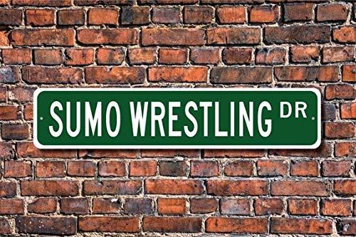 Fhdang Decor Sumo Wrestling, Sumo Wrestling Sign, Sumo Wrestling Fan, Sumo Wrestling Cadeau, Japonais Wrestling, Plaque de Rue personnalisée, Plaque en métal, 10,2 x 45,7 cm