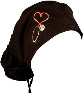 Big Hair Women's Medical Scrub Cap - Heart Stethoscope Patch On Black