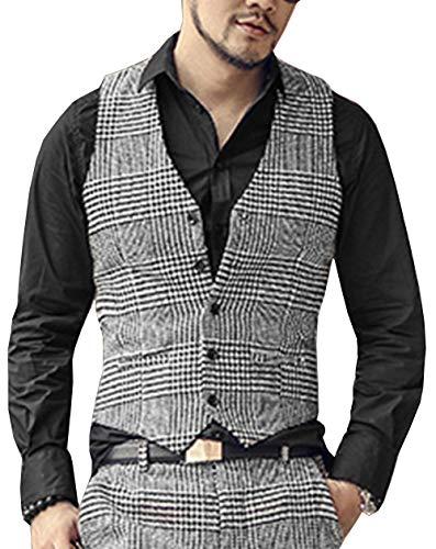 Chaleco de lana de espiga para hombre, cuello en V, chaleco formal de negocios para novio de boda Rosa plata L/pecho 44/cintura 38'