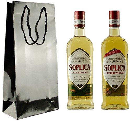 Geschenkidee Soplica Doppel-Nuss (Haselnuss/Walnuss) in schicker Lacktüte | Polnischer Haselnuss-/Walnusswodka/-likör | je 30%, 0,5 Liter