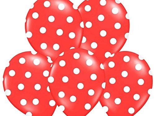 SiDeSo® 10 Luftballons mit Punkten Heliumgeeignet Party Geburtstag Jahrestag (rot mit weißen Punkten)
