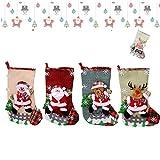 Anyingkai 4pcs Calcetín de Navidad,Calcetines Navidad Chimenea,Calcetín de Navidad Bolsa,Navidad Chimenea,Chimenea Navidad Decorativa,Calcetines de Navidad para Colgar
