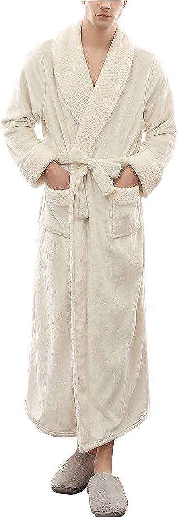 Duyang Men's Plush Shawl Collar Bathrobe Winter Warm Flannel Sleepwear Housecoat