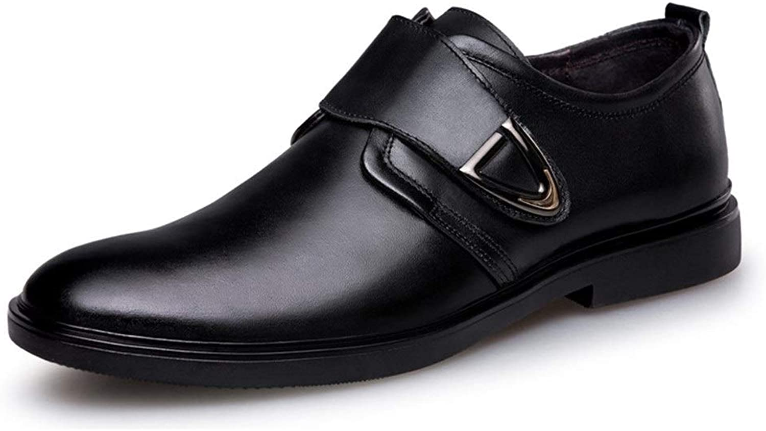 Oxfords for Men Round Toe Business Casual Loafers Slip On Formal Fashion Dress shoes Hook&Loop Strap Leather Upper Durable Abrasion Resistant Cricket shoes ( color   Black , Size   5.5 UK )