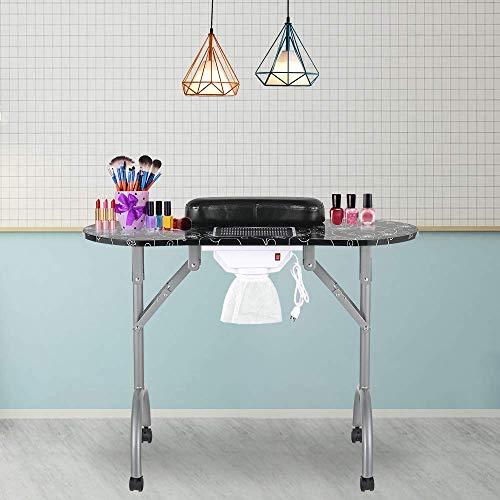 LEIBOU Mesa de manicura profesional plegable portátil con ventilador, para salón de belleza y spa con ventilador y bolsa (35 x 16 x 28 pulgadas) (negro)