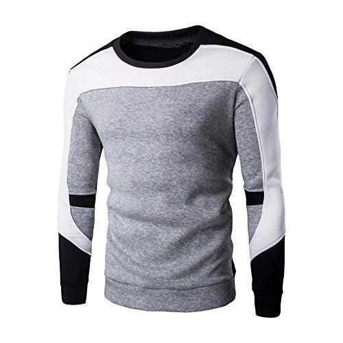 Xmiral Herren Sweatshirt Pullover Langarm Patchwork Tops Bottoming Shirt O-Ansatz Warm bleiben(L,Grau)