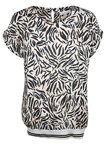 Just White Damen Bluse mit breitem Stretchbund Größe 42 EU Schwarz (schwarz/weiß)