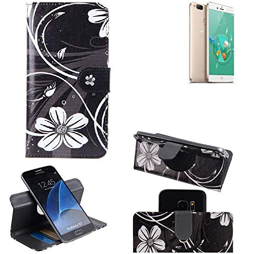 K-S-Trade Schutzhülle Für Archos Diamond Alpha+ Hülle 360° Wallet Hülle Schutz Hülle ''Flowers'' Smartphone Flip Cover Flipstyle Tasche Handyhülle Schwarz-weiß 1x